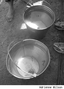 Buckets with water