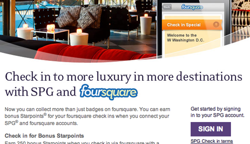 Starwood and foursquare
