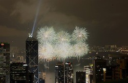 Hong Kong welcomes the New Year with fireworks